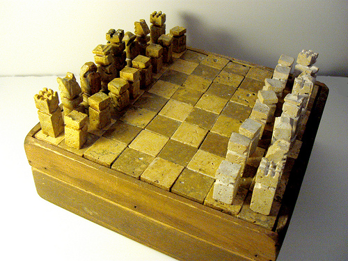 this amazing chess set has been made from pitted marble scraps u2013 i love the rugged look itu0027s like the sort of item that would get dug up in an