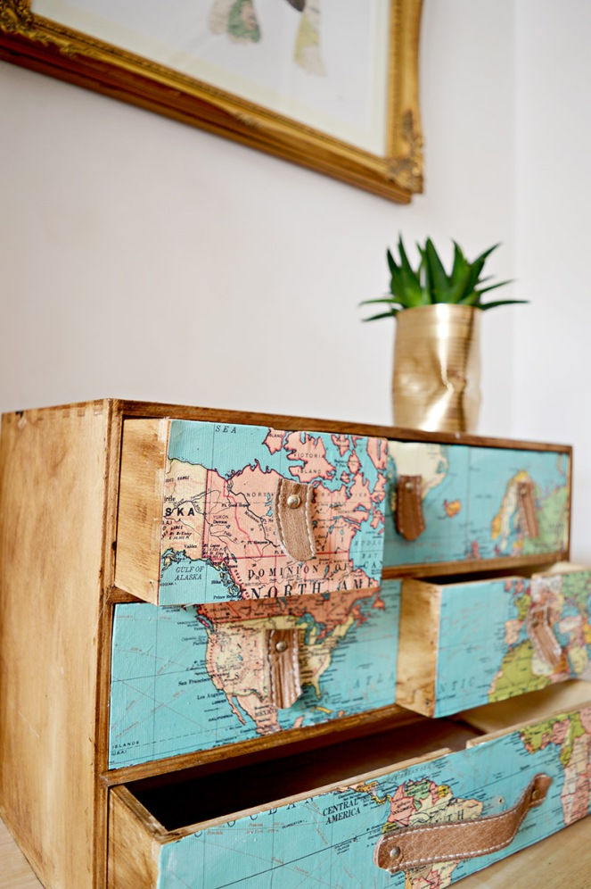 map decoupage drawers