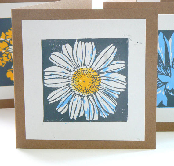 striped pebble lino print chamomile