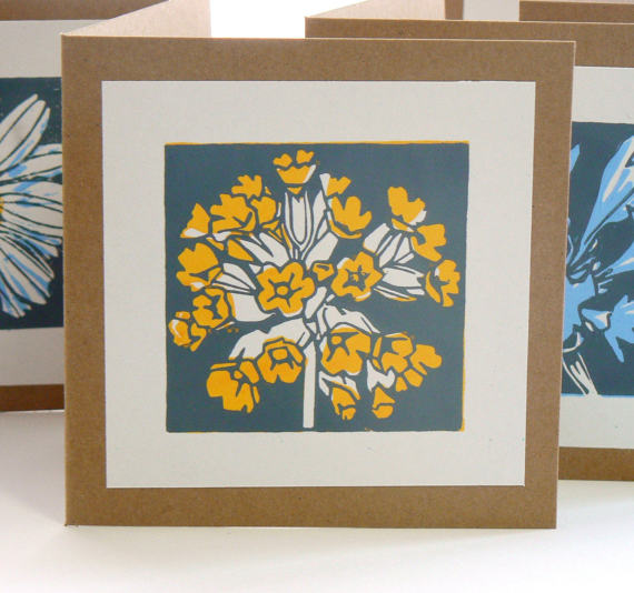 striped pebble lino print cowslip