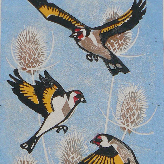 striped pebble lino print goldfinch