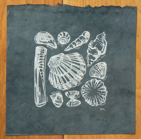 striped pebble lino print shells