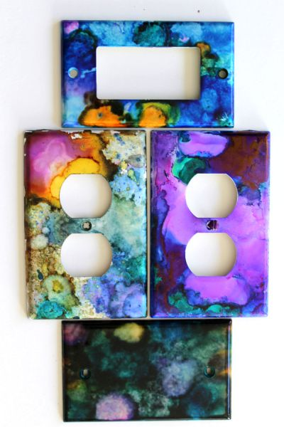 switch plates diy alcohol ink
