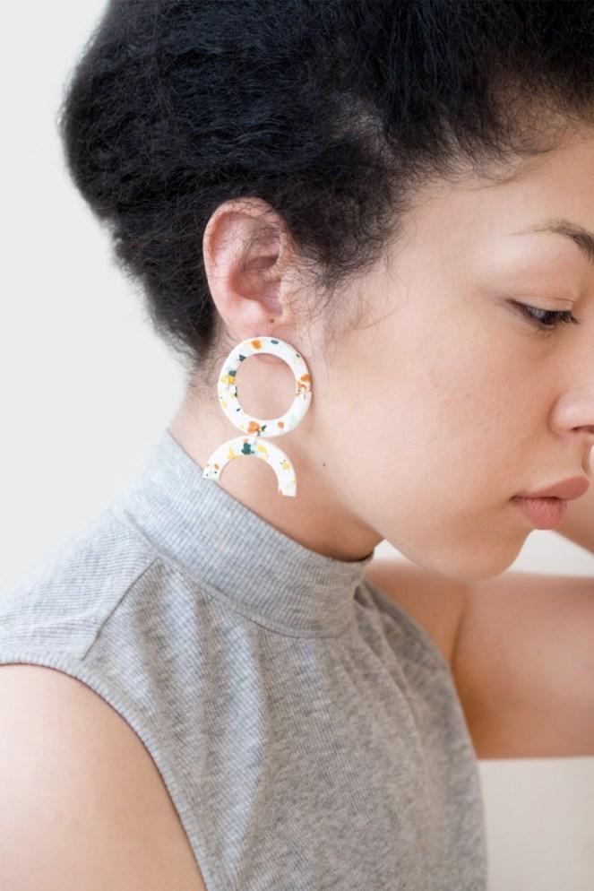 terrazzo clay earrings