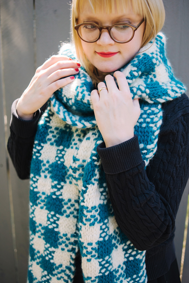 long plaid scarf pattern knitting