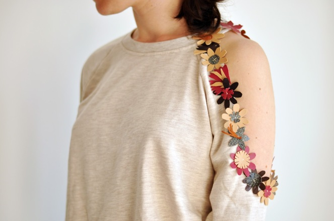 leather flower sweatshirt diy