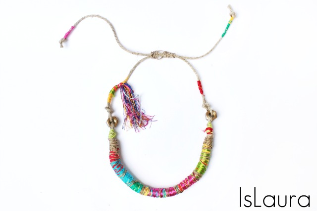 thread wrapped necklace tribal