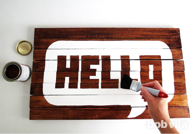 wooden hello doormat stencil