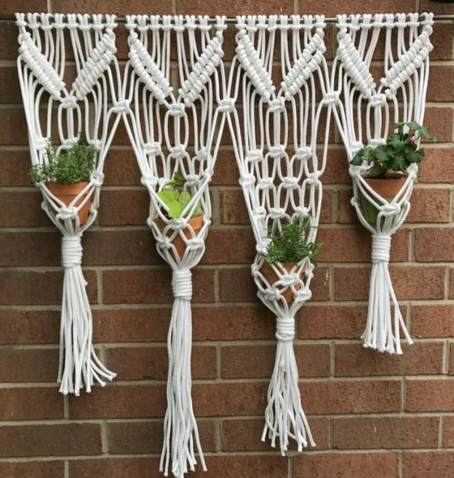 Hanging herb garden macrame