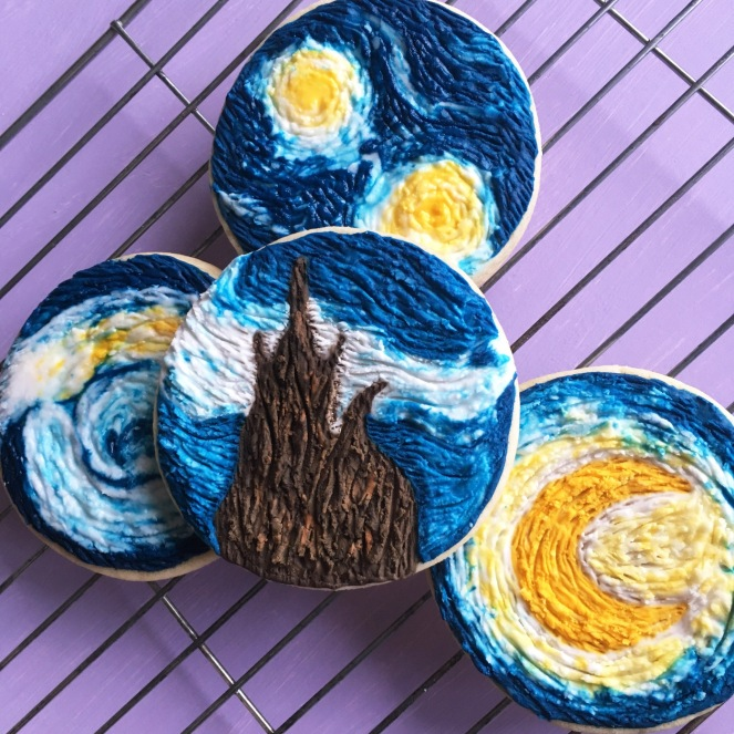 Van gogh starry night cookies
