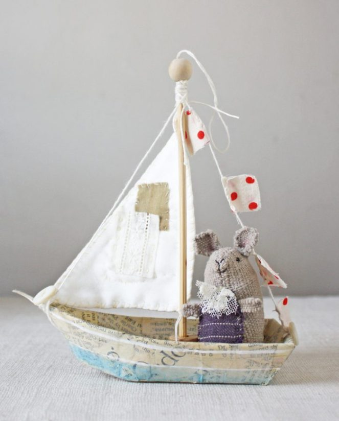 whimsical paper mache boat