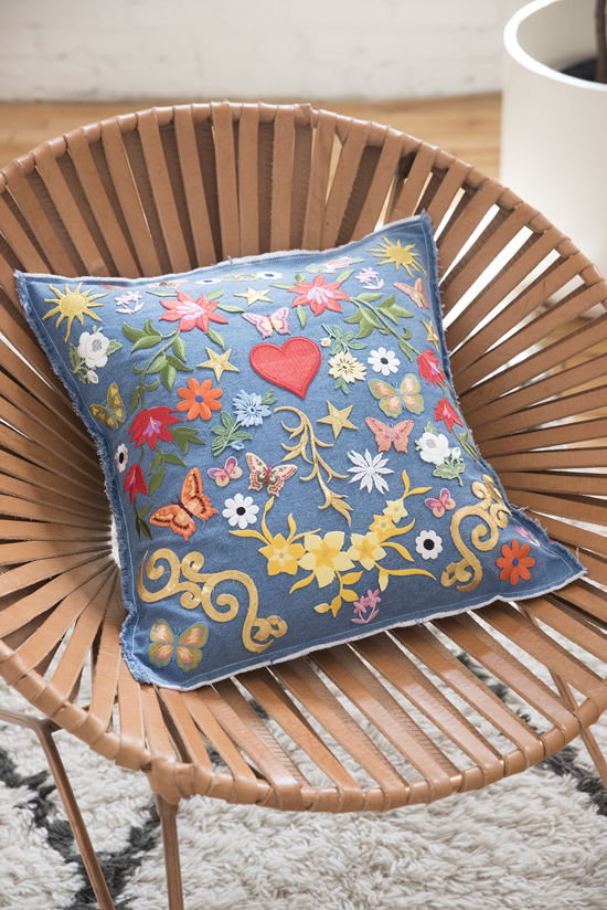 denim patch pillow