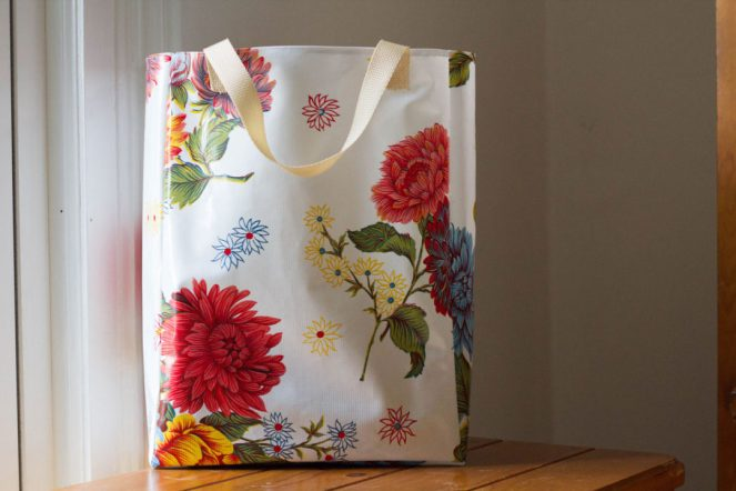 Reusable oil cloth tote bag