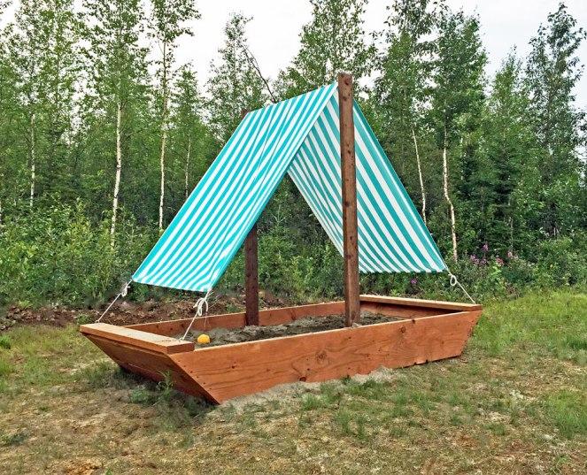 Sail boat sandbox